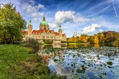 A câmara municipal nova da cidade de Hannover fotos de stock royalty free