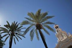 Câmara municipal velha em Cadiz Torre de pulso de disparo no fundo do céu azul Imagem de Stock