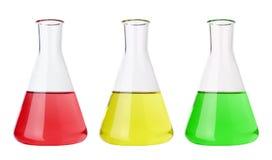 Câmaras de ar de teste com líquidos coloridos Fotos de Stock Royalty Free