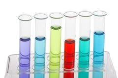 Câmaras de ar de teste enchidas com os líquidos coloridos Foto de Stock Royalty Free