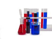 Câmaras de ar de teste com líquidos coloridos Fotografia de Stock