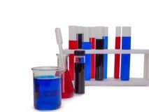 Câmaras de ar de teste com líquidos coloridos Imagem de Stock