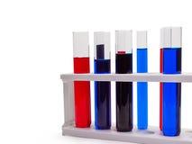 Câmaras de ar de teste com líquidos coloridos Imagens de Stock