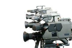 Câmaras de vídeo do estúdio em uma linha imagens de stock royalty free