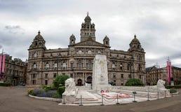 Câmaras e cenotáfio da cidade em George Square, Glasgow foto de stock royalty free