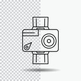 câmera, ação, digital, video, linha ícone da foto no fundo transparente Ilustra??o preta do vetor do ?cone ilustração royalty free