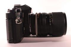 Câmera análoga profissional com lente, lado direito imagens de stock
