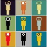 Câmera-cabeça-grupo-conceito-ideia-BW ilustração stock