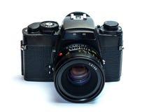 Câmera clássica do filme com isolamento normal da lente no branco Foto de Stock