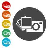 Câmera com os ícones das fotos ajustados ilustração royalty free