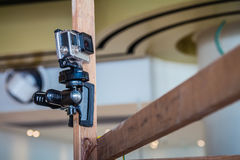 Câmera da ação de GoPro em um polo Fotos de Stock