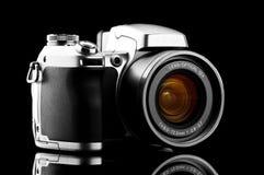 Câmera da foto isolada no preto Foto de Stock