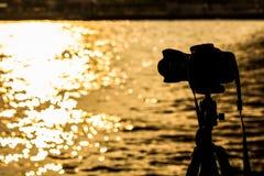 Câmera da silhueta Fotografia de Stock