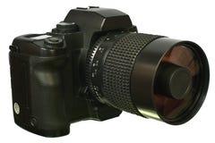 Câmera de Digitas SLR com opinião lateral da lente do espelho. imagem de stock