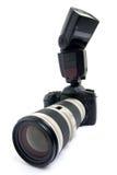 Câmera de DSLR com lente de zoom. fotos de stock royalty free