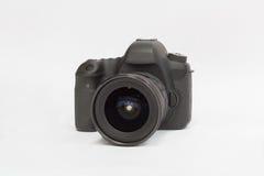 Câmera de DSLR em um fundo branco Fotografia de Stock