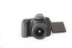 Câmera de DSLR em um fundo branco Foto de Stock Royalty Free