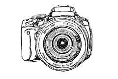 Câmera de DSLR - vista dianteira fotos de stock royalty free