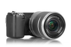 Câmera de Mirrorless com lente Foto de Stock