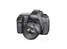 Câmera de SLR no fundo branco Imagens de Stock Royalty Free