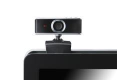 Câmera de Web no portátil que olha fixamente em você foto de stock