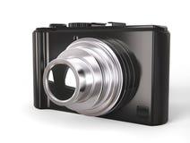 Câmera digital compacta moderna preta da foto com lente de prata Foto de Stock