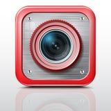Câmera do ícone, estrutura do metal, caixa vermelha. Ilustração Royalty Free