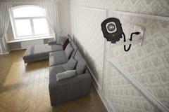 Câmera do Cctv na sala de visitas Foto de Stock Royalty Free