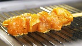 A câmera do close up mostra a carne aromática da galinha fritada na grade filme