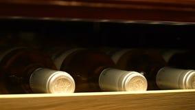 A câmera do close up move-se ao longo da prateleira com as garrafas de vinho do tampão do ouro video estoque