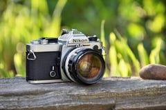 Câmera do filme do vintage de Nikon Fotografia de Stock