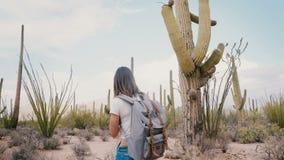 A câmera do movimento lento move-se em torno do turista que feliz novo a mulher com trouxa perdeu no parque quente do deserto do  filme