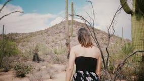 A câmera do movimento lento segue a mulher local nova no vestido preto que anda no parque nacional do deserto do cacto do verão n video estoque