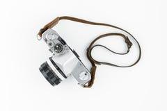 Câmera do rangefinder do vintage isolada sobre o branco Fotografia de Stock