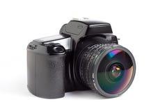 Câmera e fisheye de SLR Fotografia de Stock