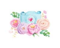 Câmera e flores da aquarela Imagem de Stock
