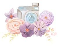 Câmera e flores da aquarela ilustração do vetor