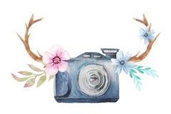 Câmera e flores da aquarela Foto de Stock Royalty Free