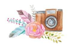 Câmera e flores da aquarela ilustração stock