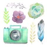 Câmera e flores da aquarela Fotografia de Stock