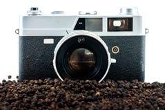 Câmera e grãos de pimenta do filme imagem de stock