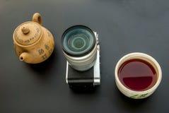 Câmera e grupo de chá chinês fotos de stock royalty free