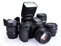 Câmera e lentes imagens de stock