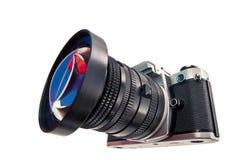 Câmera fotográfica com uma lente larga do ângulo Foto de Stock