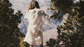 A câmera inclina acima na mulher feliz nova do turista no vestido branco que aprecia o Mountain View cênico incrível do deserto d filme