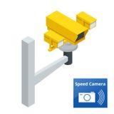 Câmera isométrica do radar do controle de velocidade, no fundo branco ilustração stock