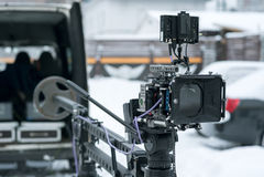 câmera 4K no guindaste Imagem de Stock Royalty Free