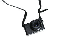 Câmera mirrorless preta com a lente no isolado branco Imagens de Stock Royalty Free