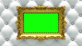 A câmera move-se ao longo das molduras para retrato do ouro no fundo branco luxuoso de estofamento animação 3d dada laços sem eme ilustração royalty free