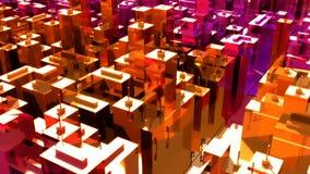 A câmera move-se através da cidade surreal abstrata Loopable ilustração do vetor